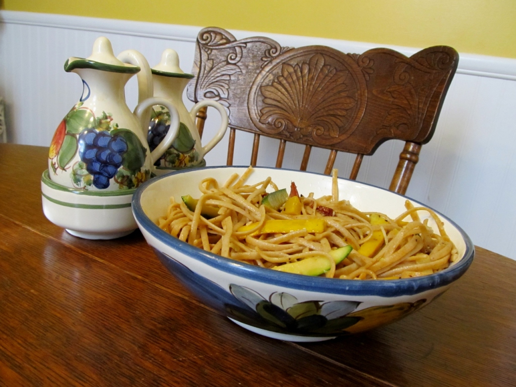 Williams-Sonoma's recipe for Spaghettini with Summer Squash and Crispy Speck (Photo: Kat B./travelgardeneat)