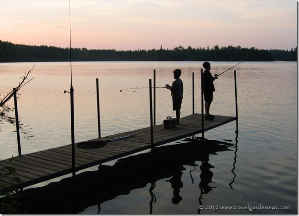 Peaceful evening fishing off the dock on a Minnesota lake