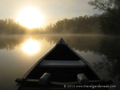 Canoe at sunrise in northern Minnesota