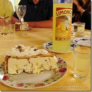 Zucotta (gelato chocolate cake) with Limoncino