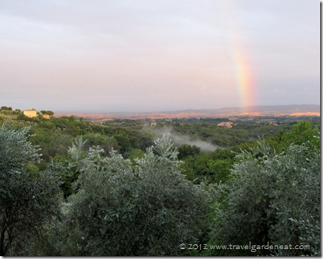 A beautiful evening view from the Villa del Cielo with Caminetto