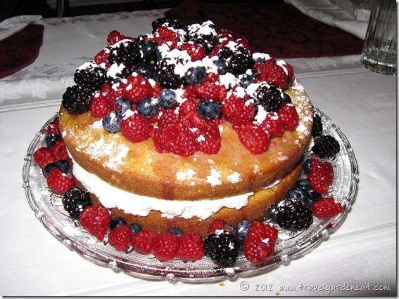 Kat's version of Mascarpone-Filled Cake with Sherried Berries