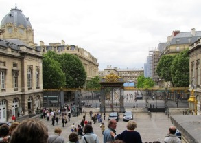 Exiting the Palais de Justice gates.