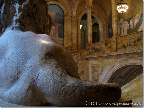 One of the marble lions gracing Boston Public Library's main staircase