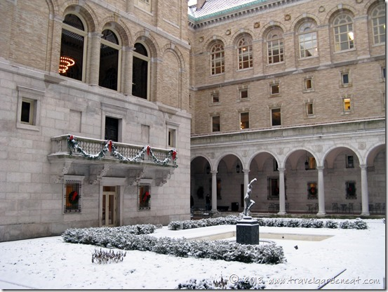 The interior courtyard at the Boston Public Library