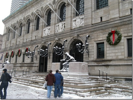 The exterior of Boston's Public Library