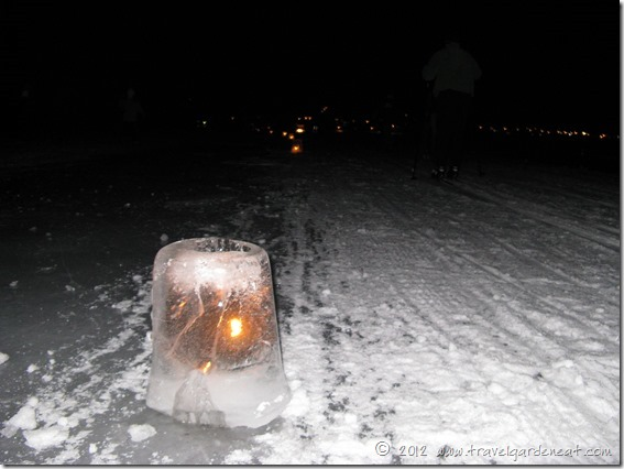 One of the up to 1,000 ice luminaries lighting the way