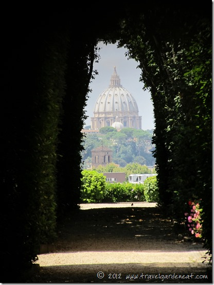 The Dome of St. Peter's Basilica as viewed through the Knights of Malta keyhole