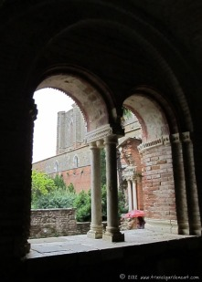 Archways framing the abbey