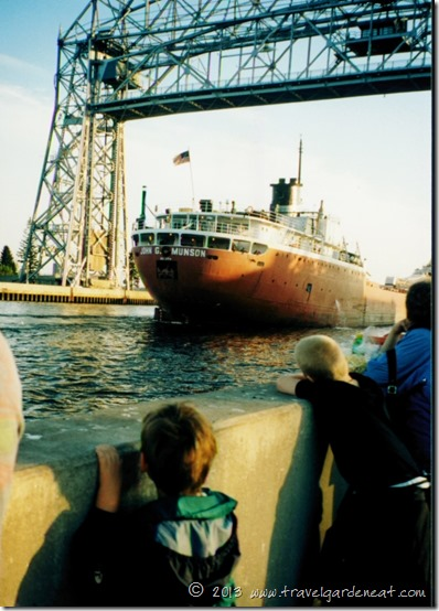 Ship coming through Duluth, Minnesota's canal