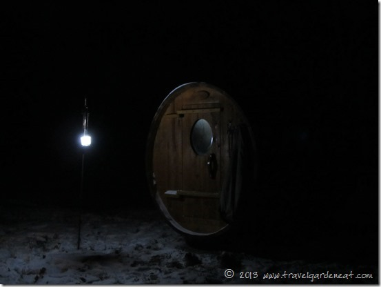 Lantern lighting the sauna