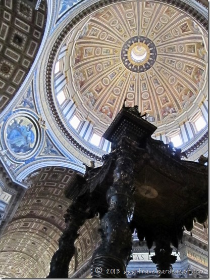 Bernini's canopy in the foreground with Michelangelo's dome overhead ~ St. Peter's