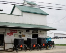 Buggies at the seed store in Mt. Hope, Ohio