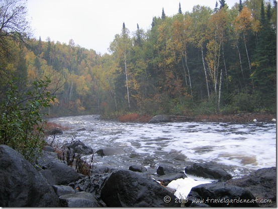 Fall colors lining the Brule River at C.R. Magney State Park, Minnesota