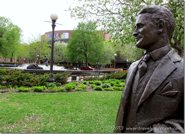 F. Scott Fitzgerald keeping watch over Rice Park in St. Paul