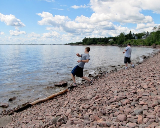 Skipping stones along the shores of Lake Superior
