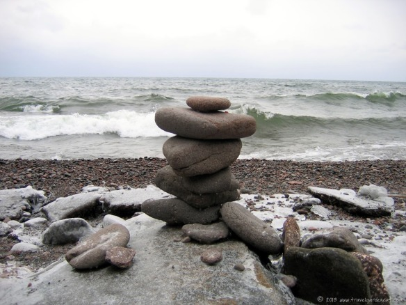 Unique inukshuk along Lake Superior's shore