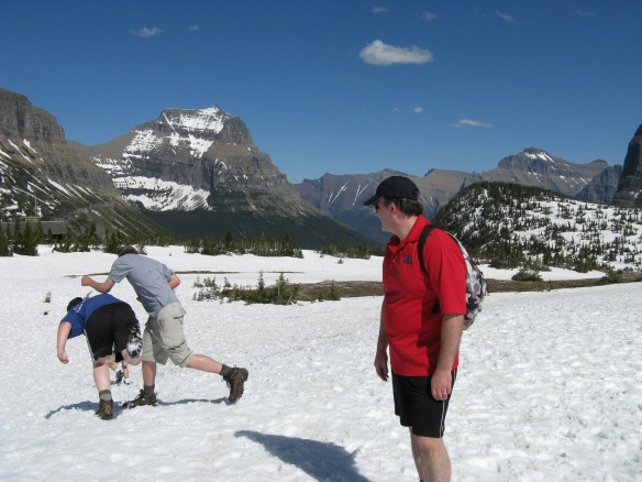 Snow fight in Glacier National Park, Montana