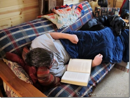 Curled up with a book at the cabin