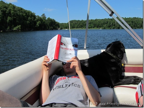 Reading on the pontoon
