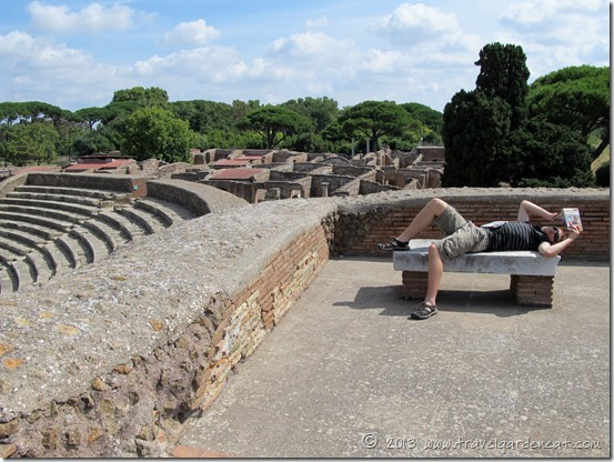 Taking a breather while exploring Ostia Antica
