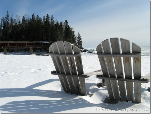 Winter beach scene at Lutsen Resort