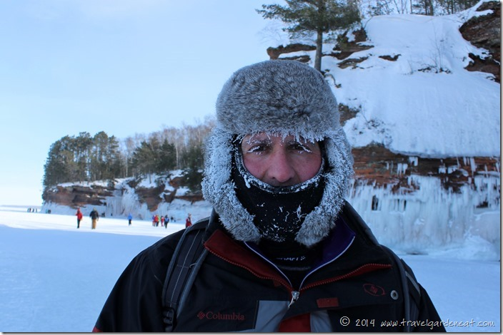 Ice eyelashes after Apostle Islands ice caves hike