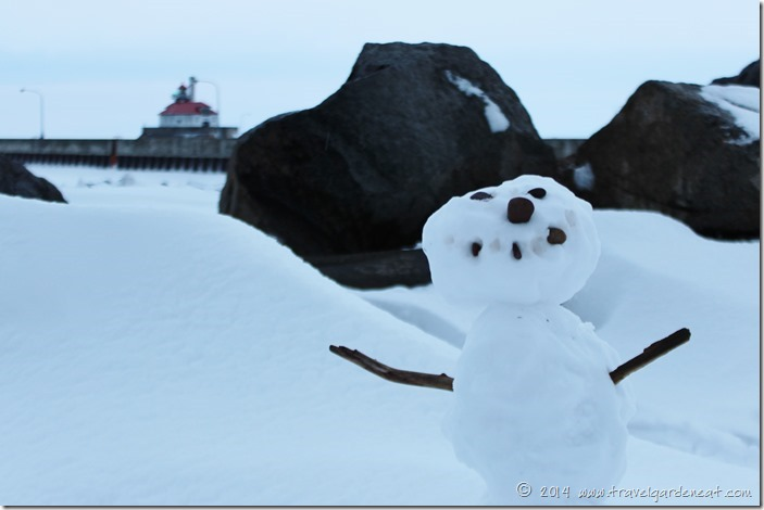 Snowman by Lake Superior