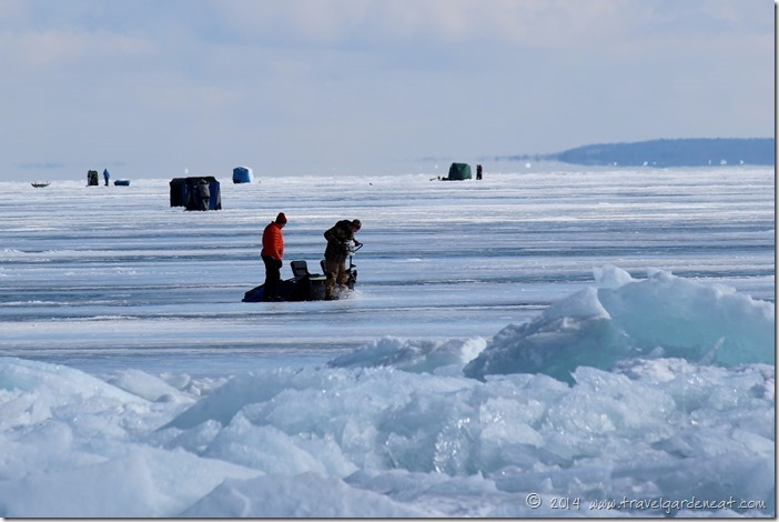 Ice fishing on Lake Superior