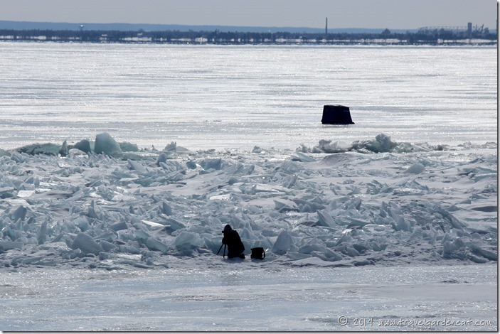 Photographer on ice ~ Duluth, Minnesota