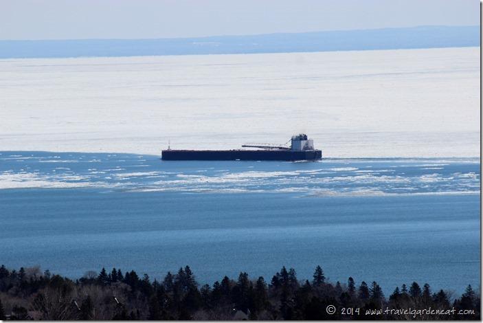 Pushing through Lake Superior's ice