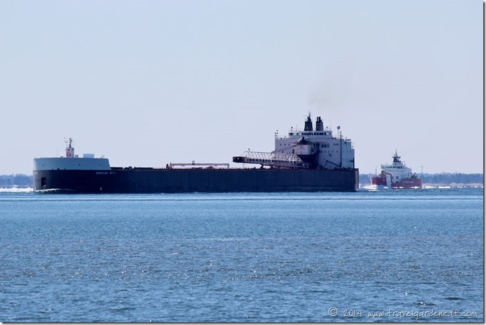 The American Spirit followed by the U.S. Coast Guard cutter on Lake Superior