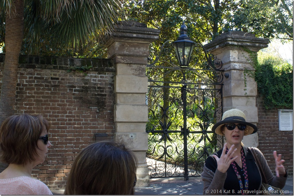 Charleston tour guide Lee Ann Bain in front of the Sword Gate