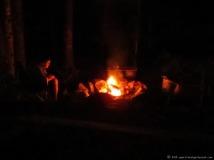 Orange glow of a campfire