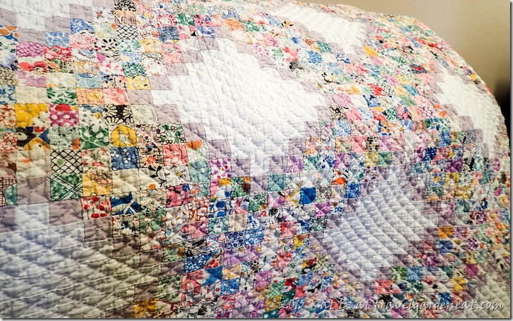 Hand-quilted postage stamp quilt