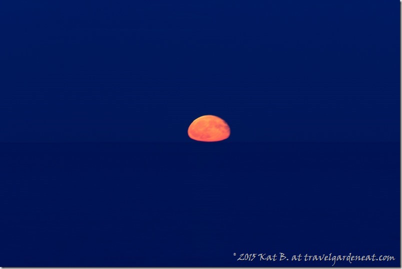 Waning Blue Moon over Lake Superior, 8/1/15