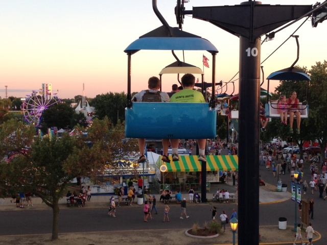 Riding the SkyGlider at the Minnesota State Fair