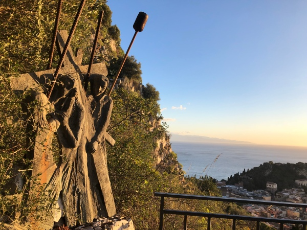 Stations of the Cross overlooking the Ionian Sea and Taormina