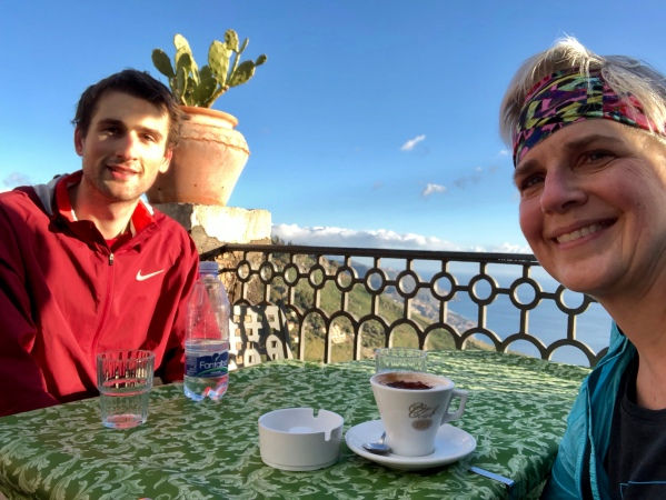 Mountaintop dining at Caffe Bar San Giorgio, Castelmola