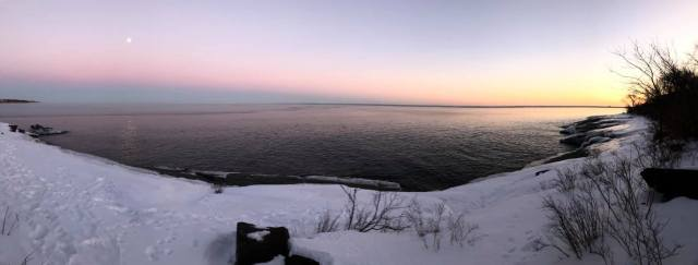 Moonrise during Sunset on Lake Superior