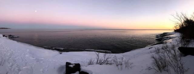 Moonrise during Sunset on Lake Superior